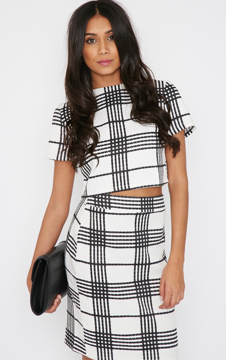 Jemma Monochrome Checked Crop Top  3