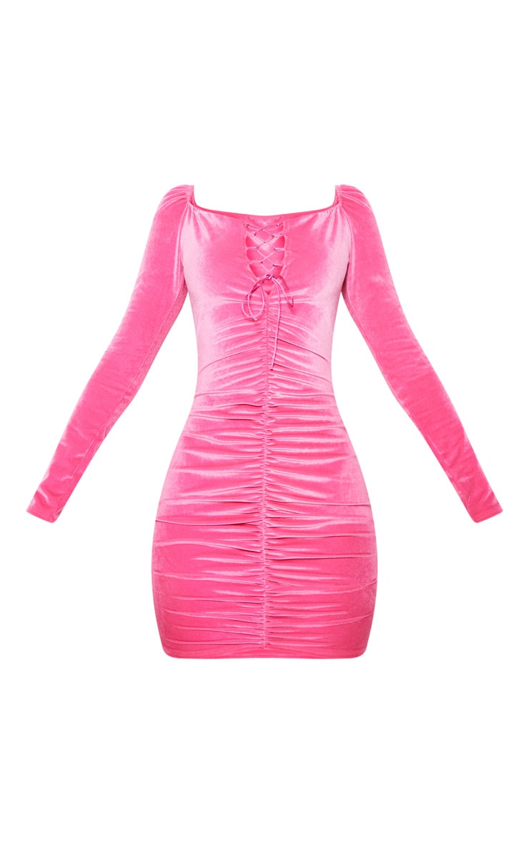 Neon Pink Square Neck Ruched Lace Up Velvet Bodycon Dress 3