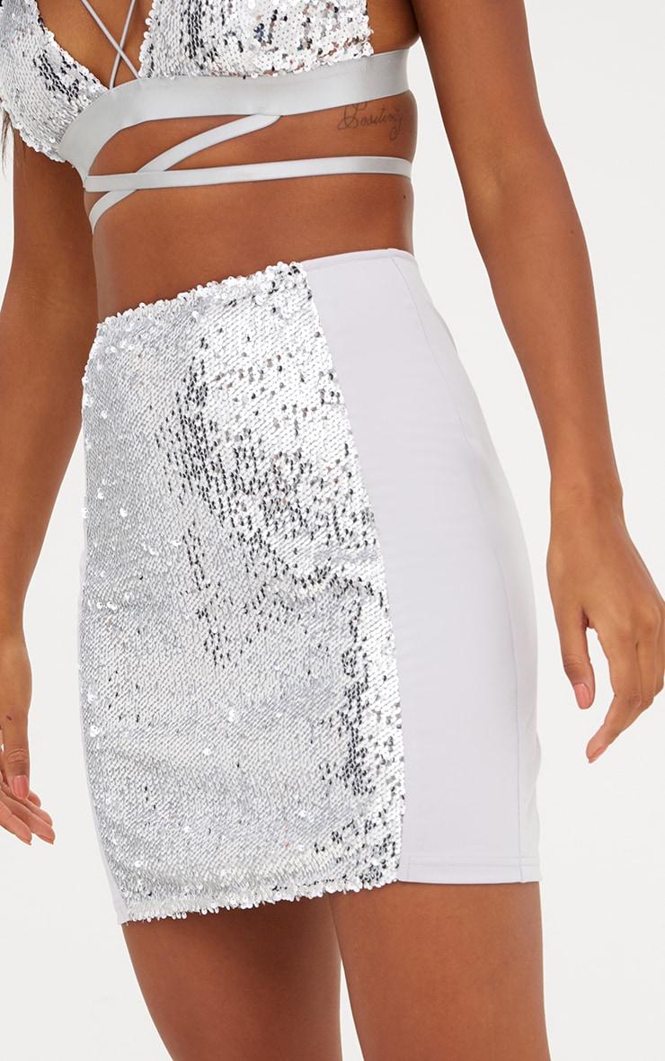 Grey Sequin Panel Skirt 6