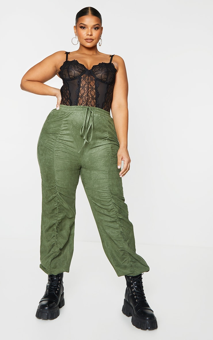 Product photo of Plus khaki faux suede ruched front joggers green
