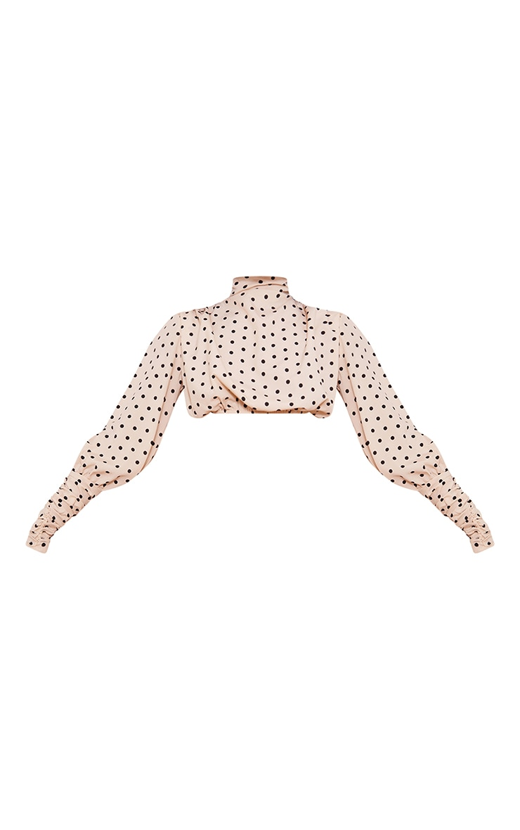 Stone Polka Dot Printed High Neck Ruched Sleeve Detail Crop Top 5