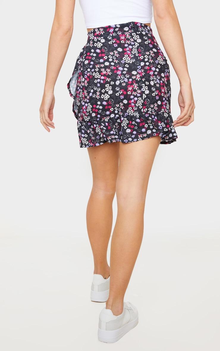 Black Ditsy Floral Frill Wrap Mini Skirt 3