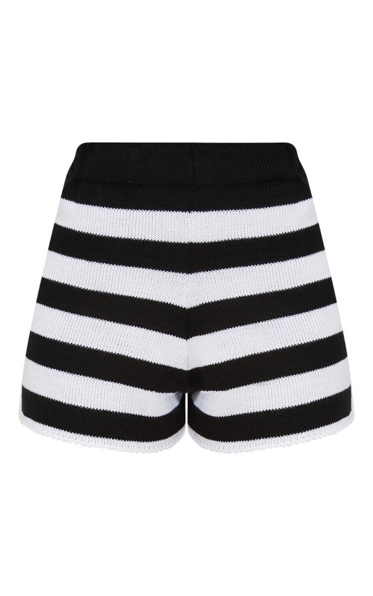 Petite Black Striped Knit Shorts 3