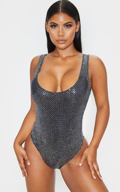 Silver Sequin Strappy Bodysuit