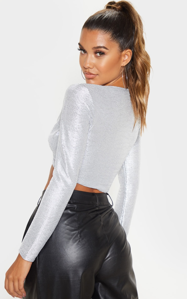 Silver Metallic Plunge O-Ring Crop Top 2
