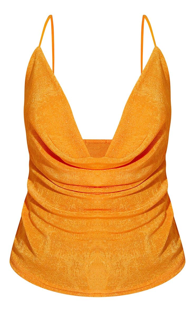 Orange Shimmer Slinky Cowl Neck Cami 5