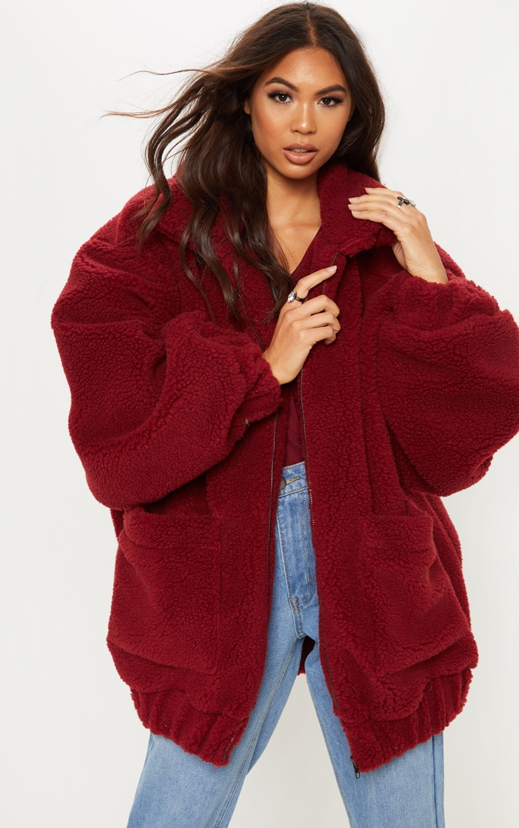 Burgundy Oversized Borg Pocket Front Coat  4