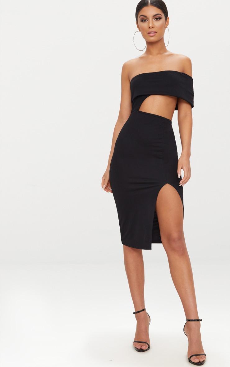 Black One Shoulder Asymmetric Cut Out Midi Dress