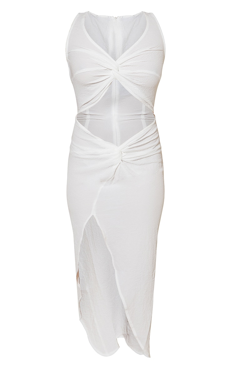 White Crinkle Twist Detail Cut Out Sleeveless Midi Dress 5