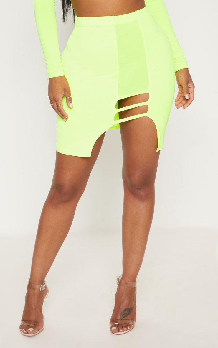 Shape Lime  Slinky Cut Out Detail Bodycon Skirt 2