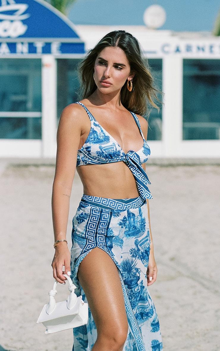 Blue Greek Key Print Split Beach Skirt 2