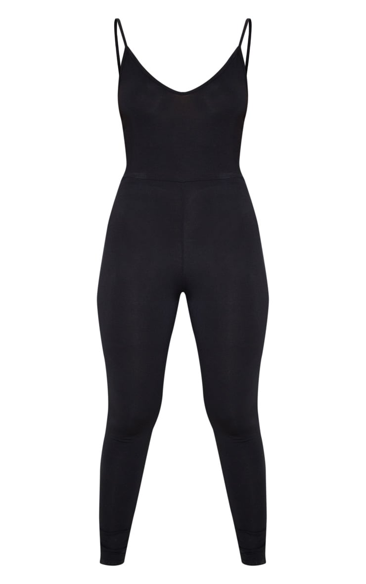 Black Basic Strappy Plunge Jumpsuit 3