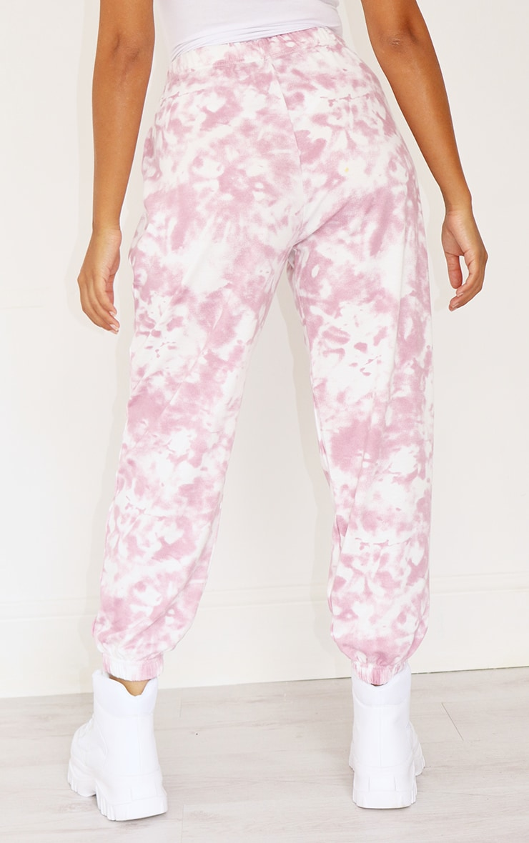 Petite Pink Tie Dye Cuffed Hem Sweatpants 3