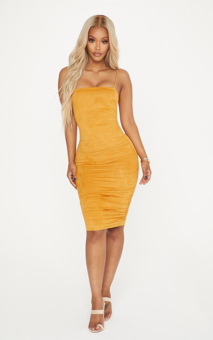 Shape Mustard Faux Suede Ruched Midi Dress 1