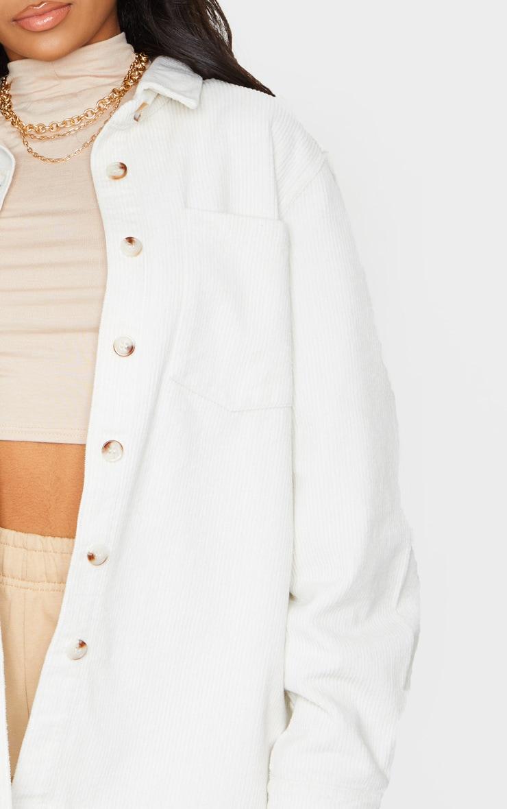 White Jumbo Cord Long Sleeve Denim Shacket 4