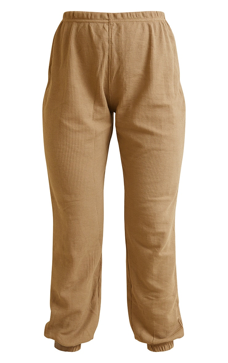 Camel Waffle Textured Casual Joggers 5