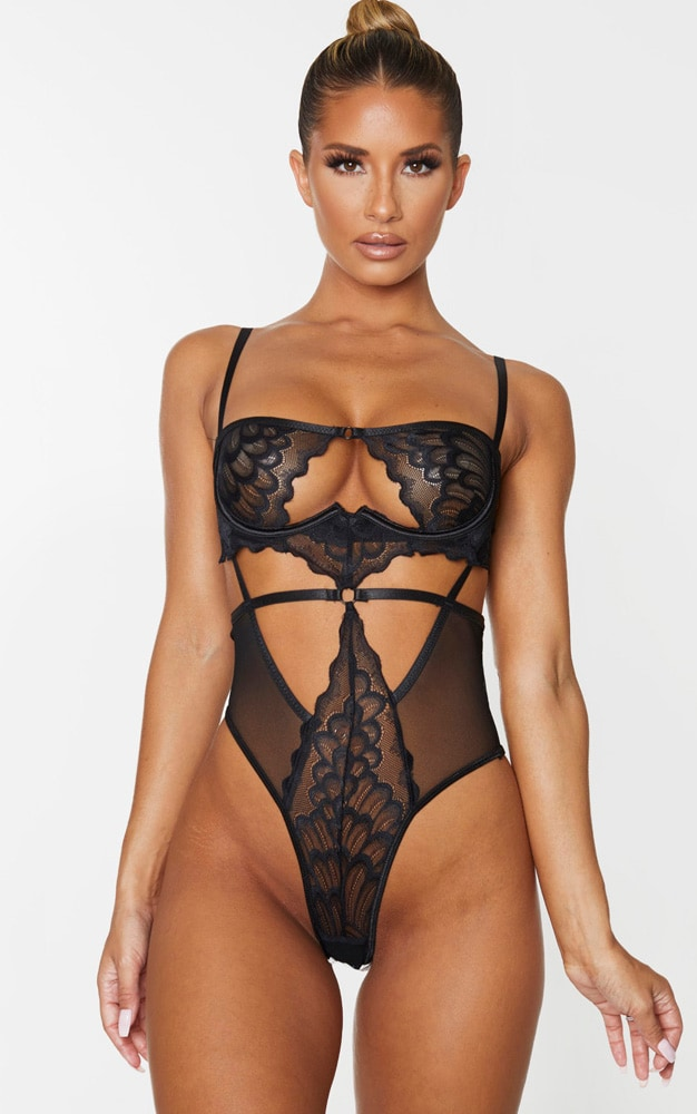 Black Underwired Cut Out Lace Body 1