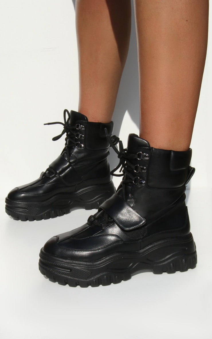 Black Chunky Sole Strap Lace Up Hiker Boots 1