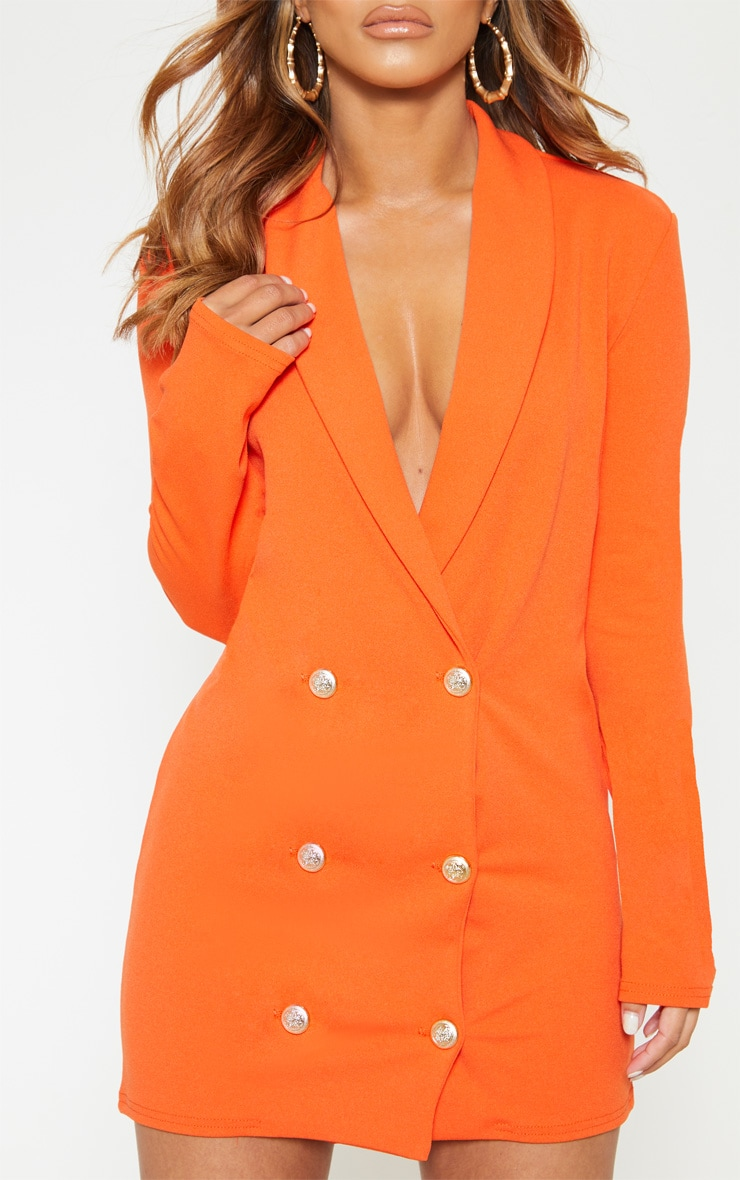 Petite Bright Orange Gold Button Blazer Dress 5