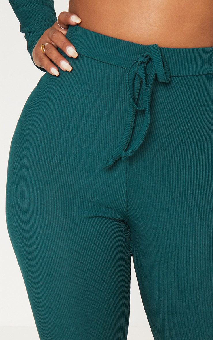 Shape Emerald Green Ribbed High Waist Leggings 5