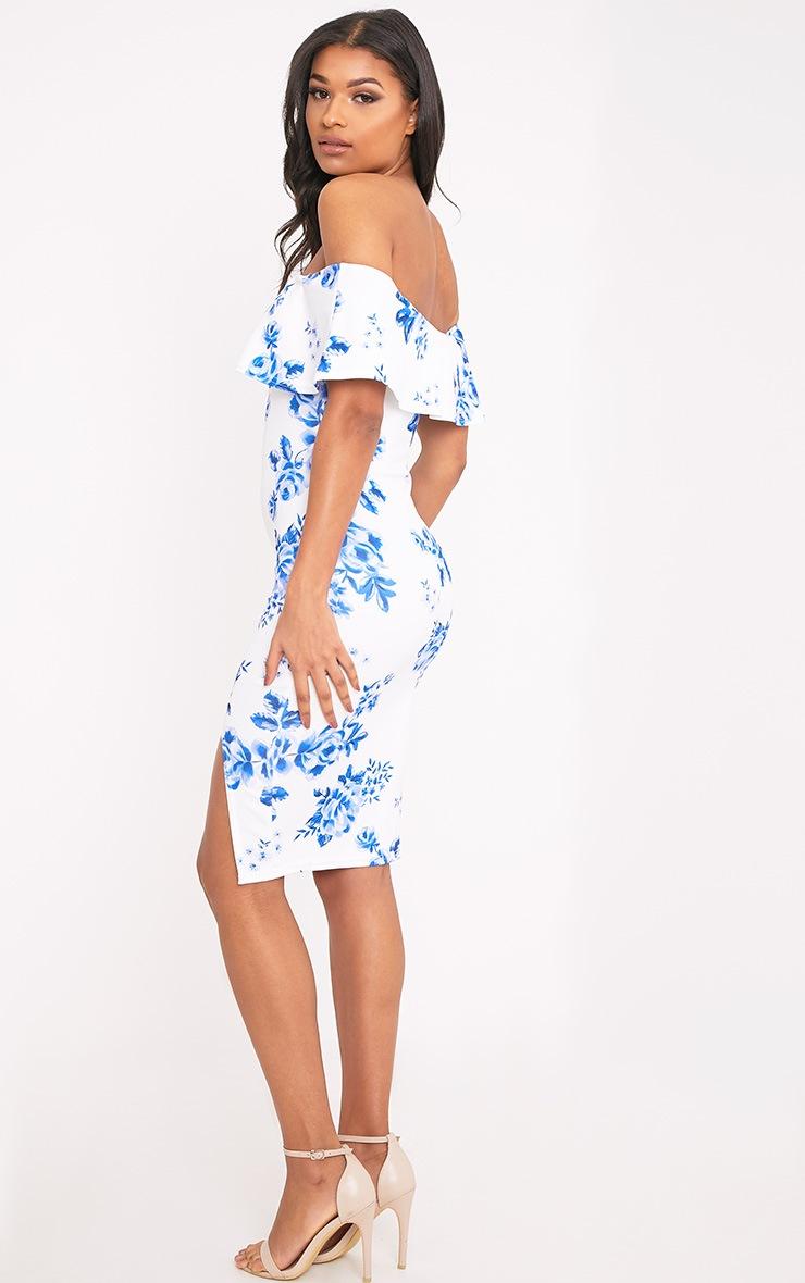 Yazmine White Frill Bardot  Midi Dress 2