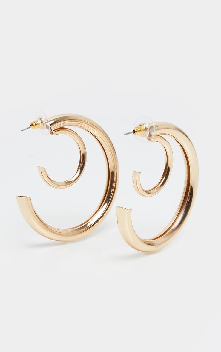 Gold Double Chunky Tubular Earrings 1