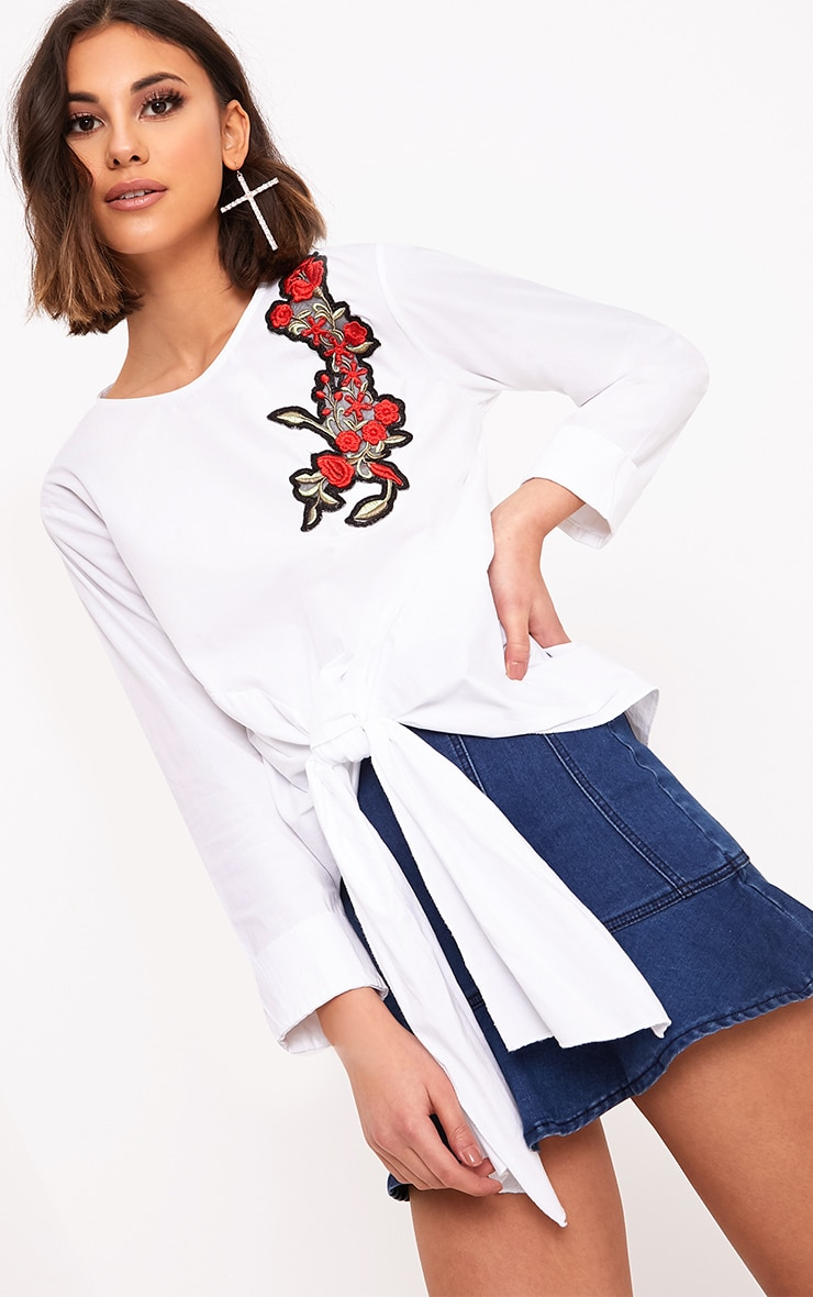 Talin White Floral Applique Tie Front Shirt 1