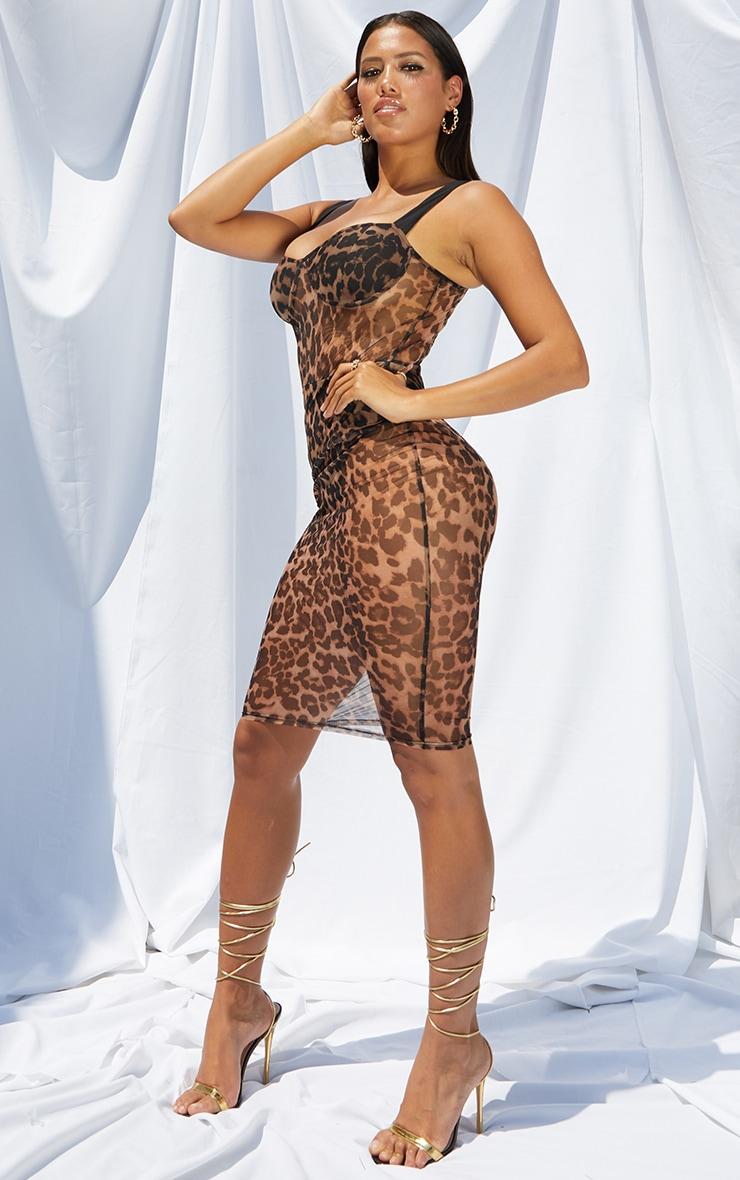 Shape Brown Leopard Print Mesh Cup Detail Midi Dress 3