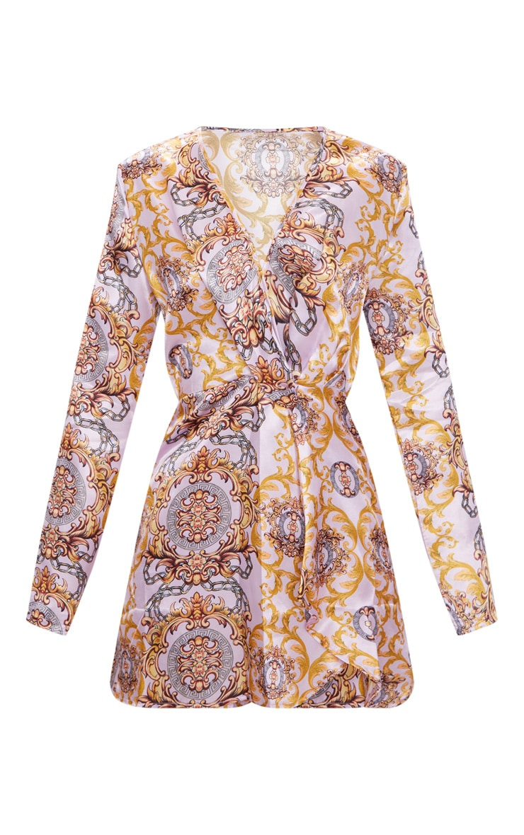 dd1475988d4a PrettyLittleThing Pink Chain Print Satin Long Sleeve Wrap Dress at ...