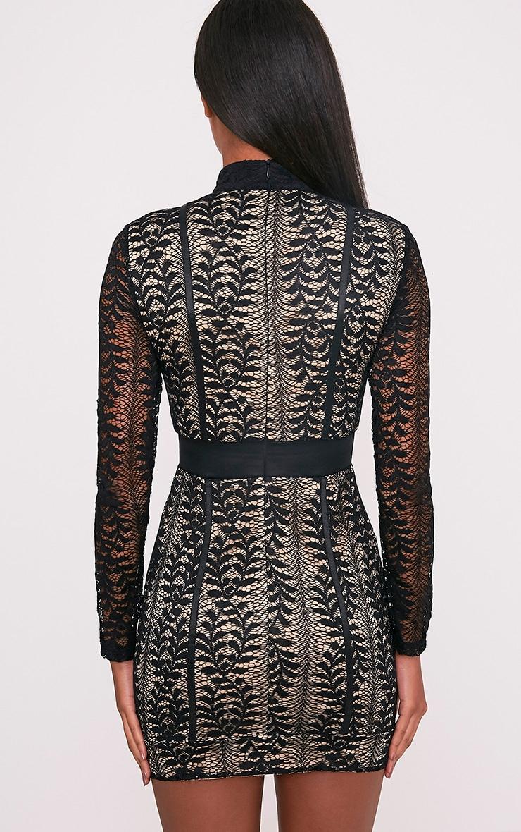 Kirina Black High Neck Lace Bodycon Dress 2