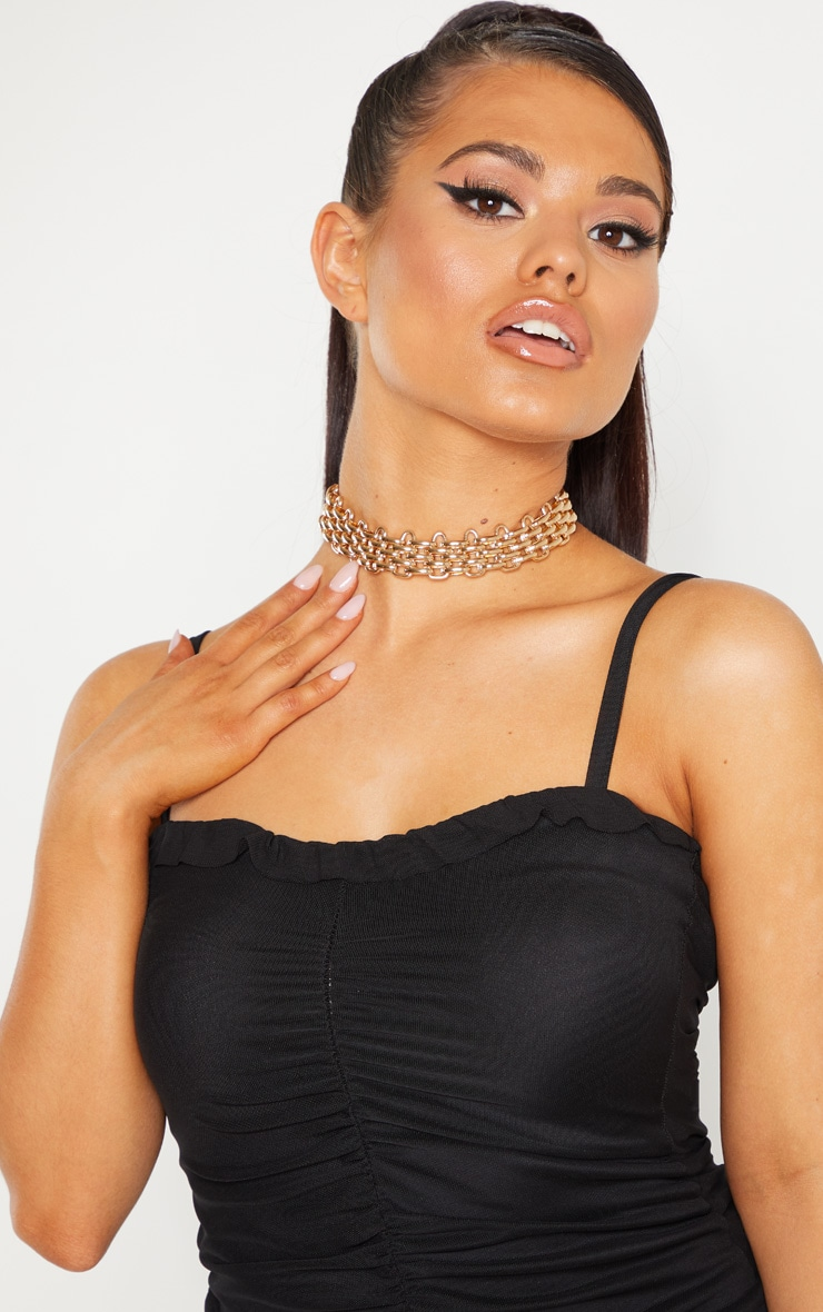 Petite Black Mesh Ruched Dress 4