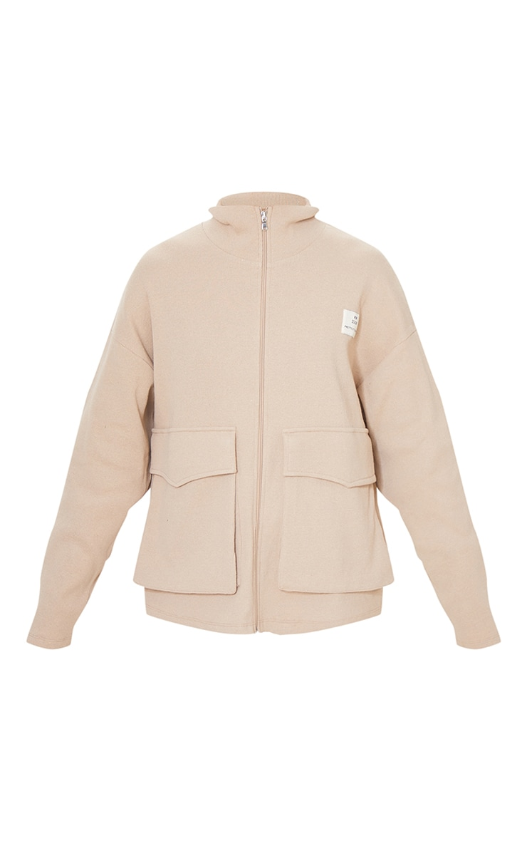 PRETTYLITTLETHING Beige Pocket Front Ribbed New Season Jacket 5