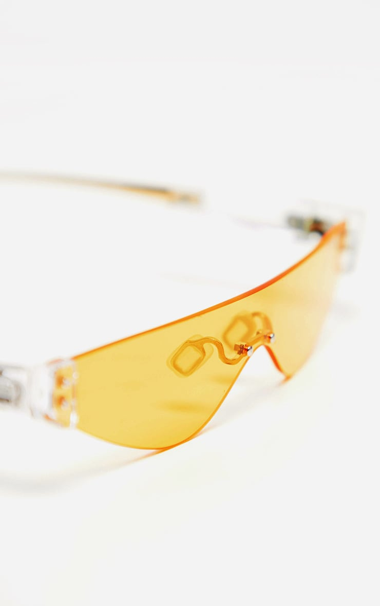 Yellow Tinted Frameless Slimline Sunglasses 2