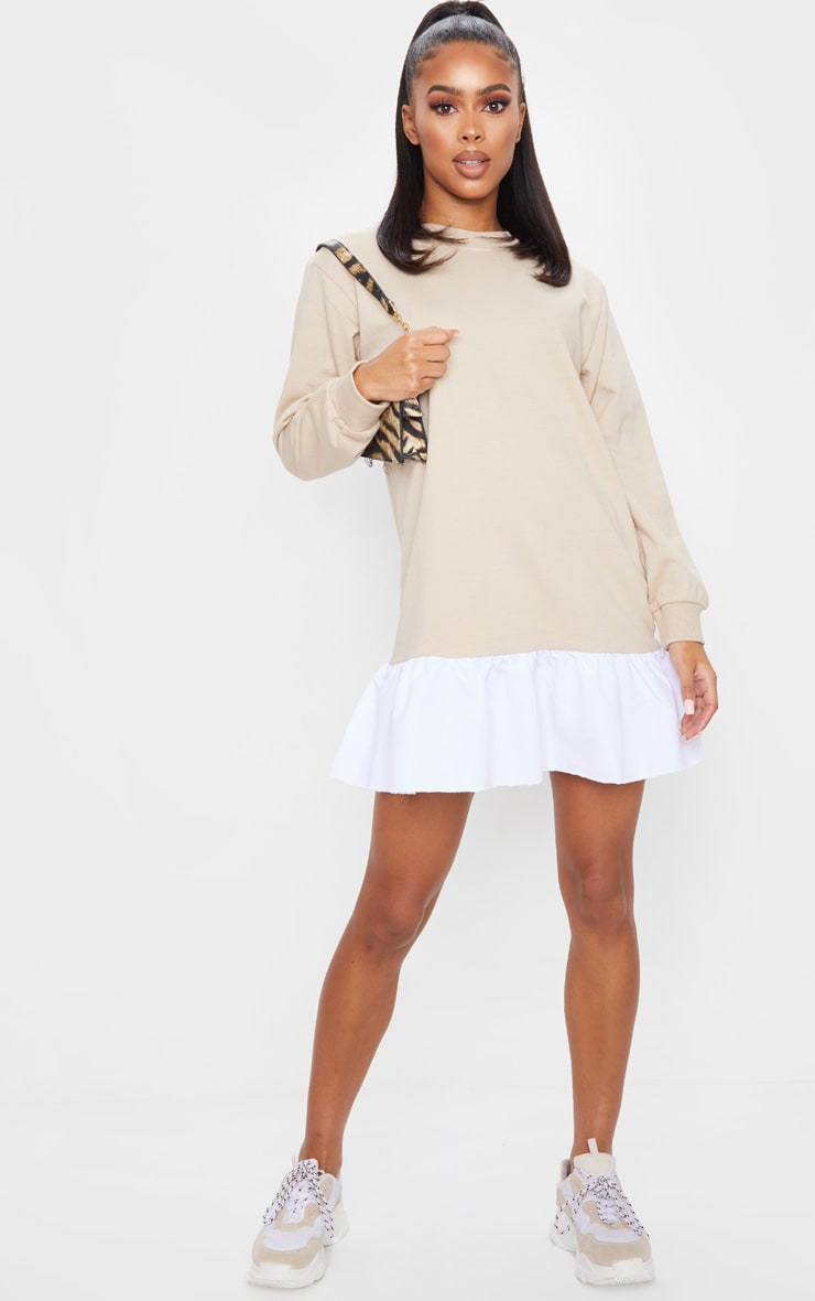 Stone Sweater Dress With Poplin Frill 1