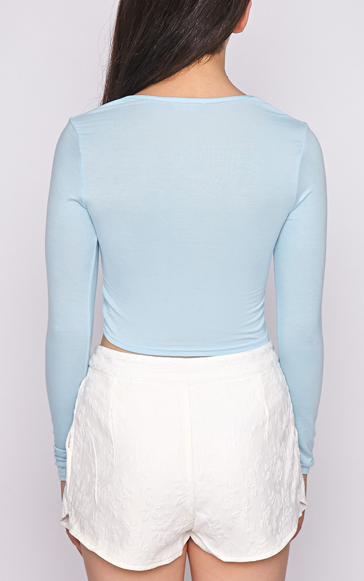 Suzy Blue Long Sleeved Crop Top  2