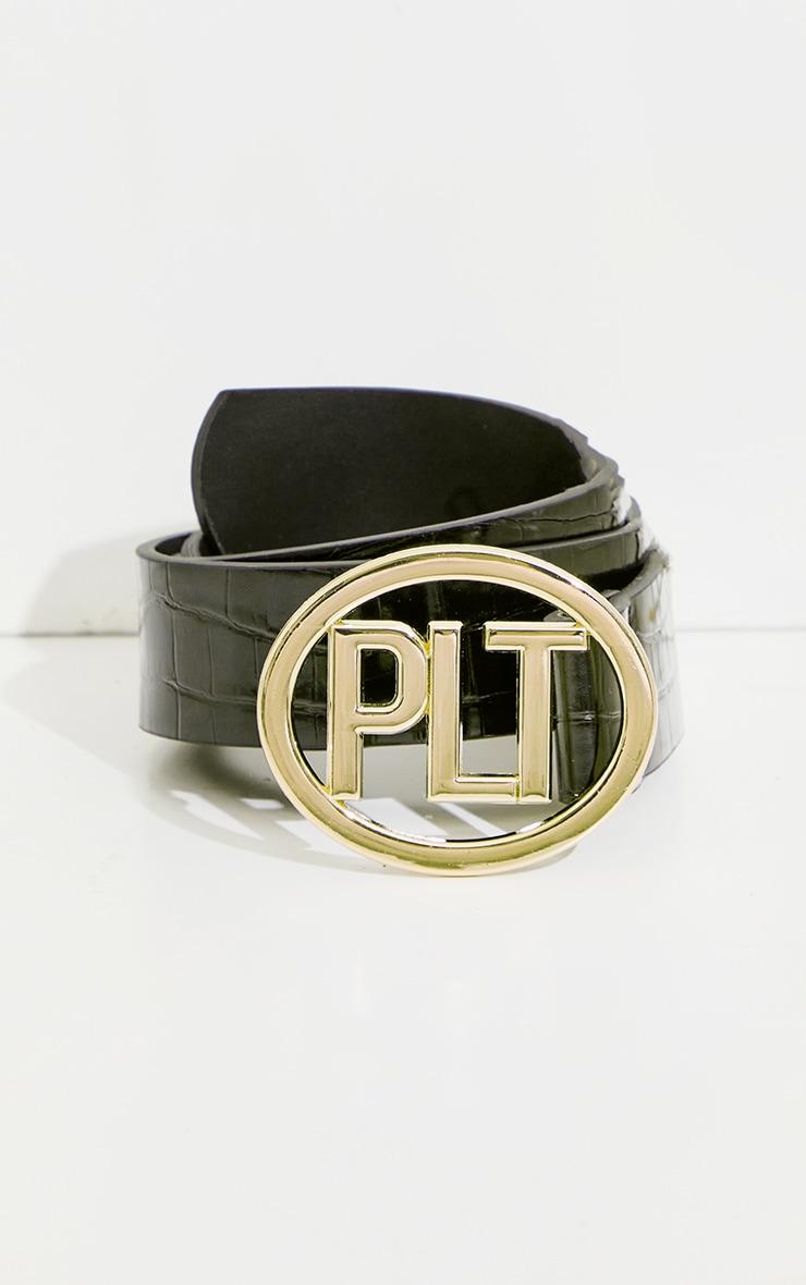 PRETTYLITTLETHING Black Pu Gold Buckle Waist Belt 2
