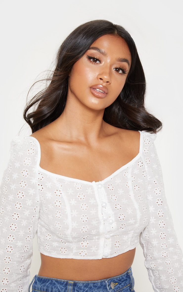 Petite White Cropped Broderie Anglaise Long Sleeve Top 5