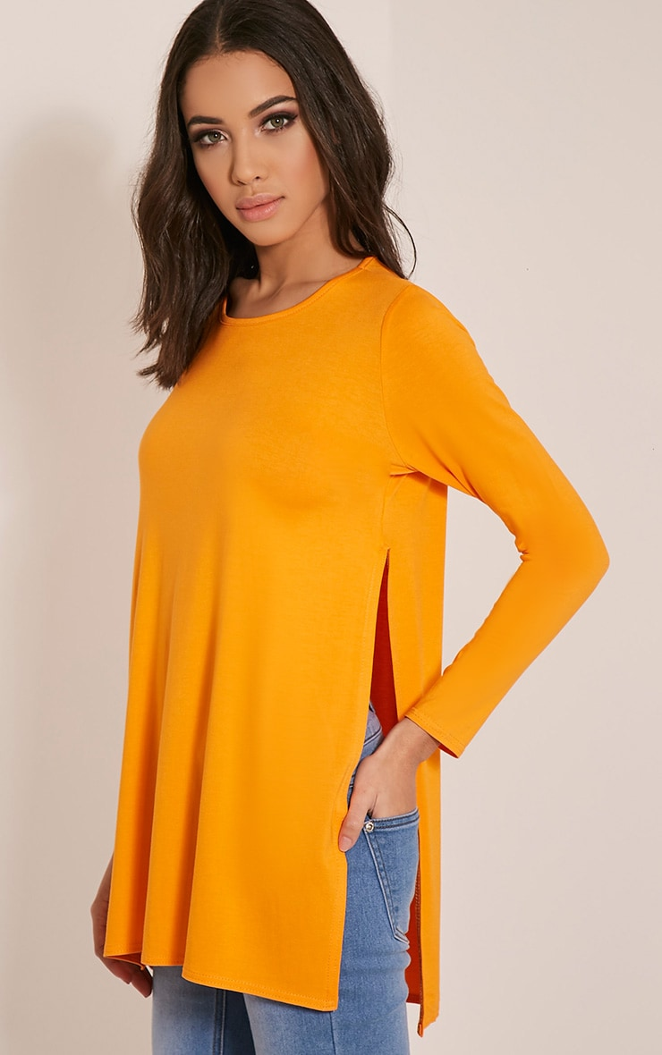 Basic Bright Orange Long Sleeve Side Split Top 1