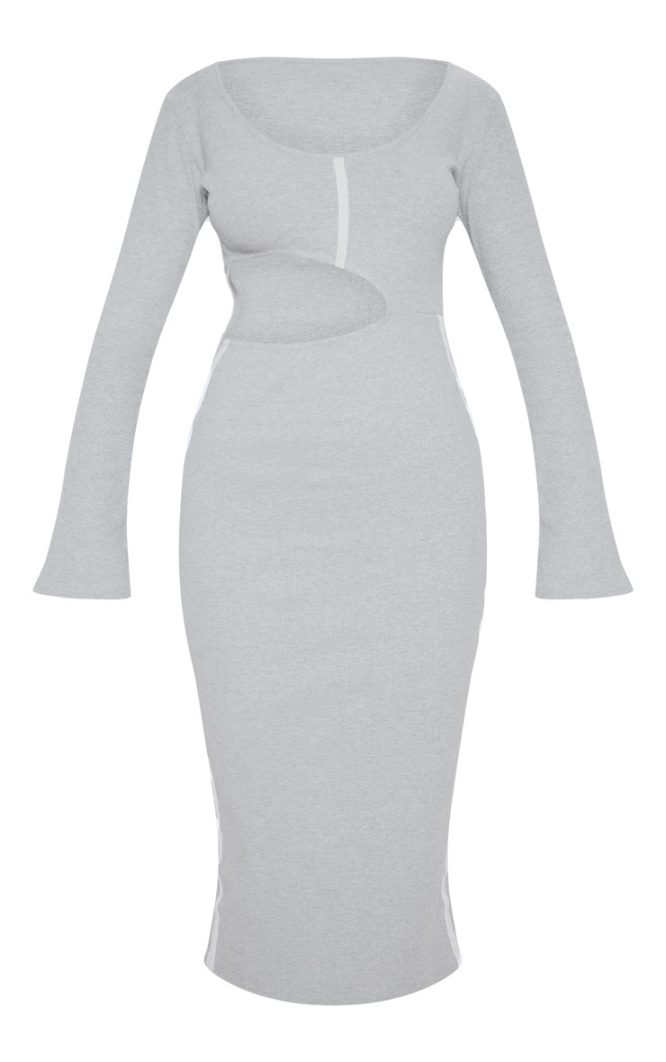 Grey Rib Contrast Trim Cut Out Long Sleeve Midi Dress 3