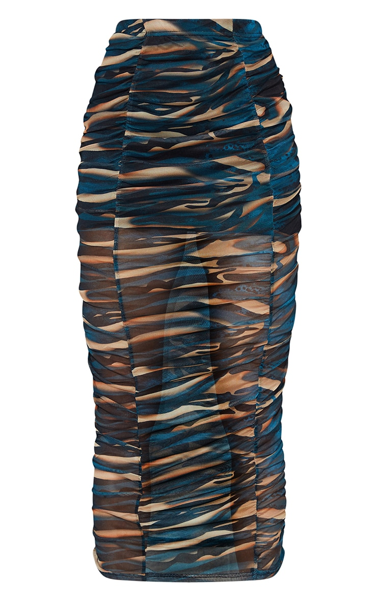 Teal Spray Paint Print Mesh Ruched Overlay Maxi Skirt 5