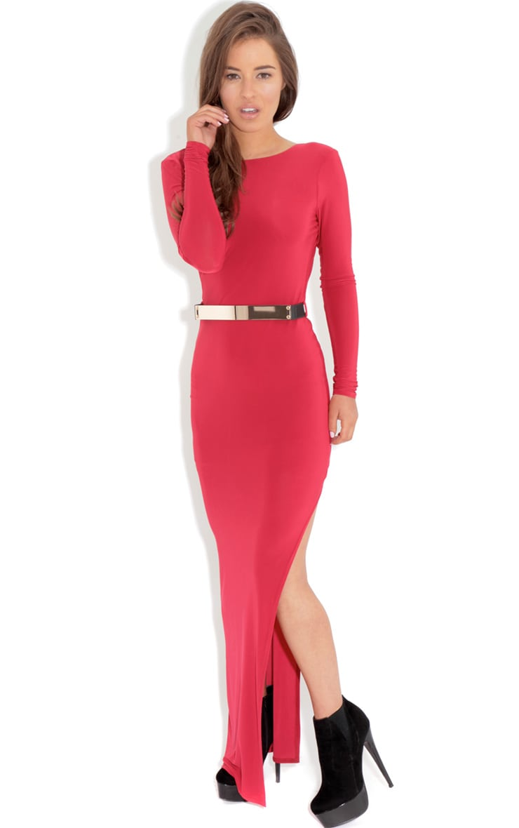 Alysa Red Maxi Dress With Gold Tone Belt 3