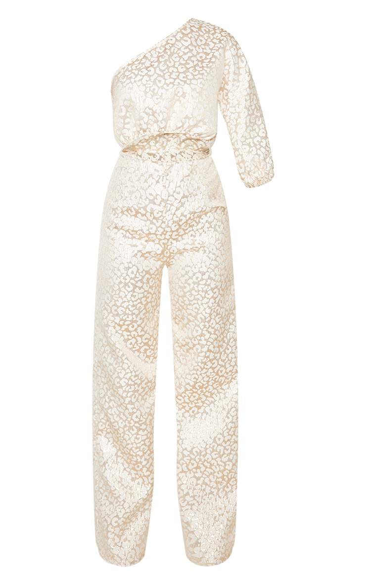 Rose Gold Leopard Jacquard One Shoulder Cut Out Jumpsuit 3