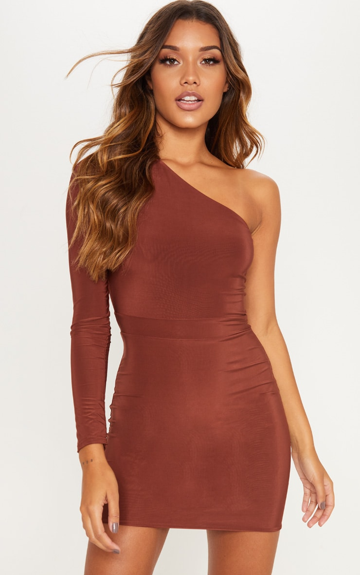 Chocolate Brown One Shoulder Slinky Bodycon Dress