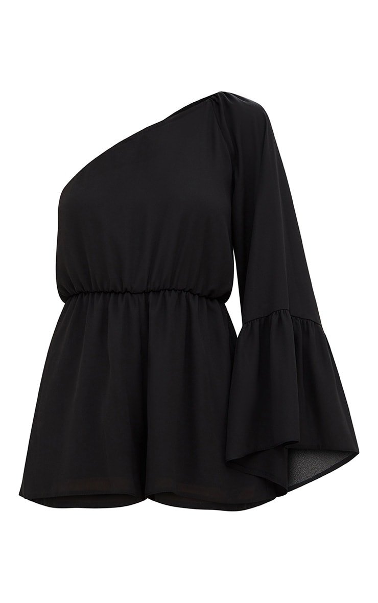 Black One Shoulder Frill Sleeve Playsuit 3