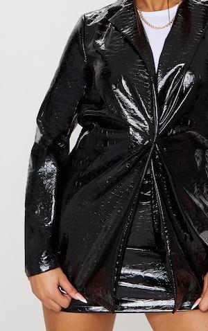 Black Croc Print Vinyl Blazer image 4