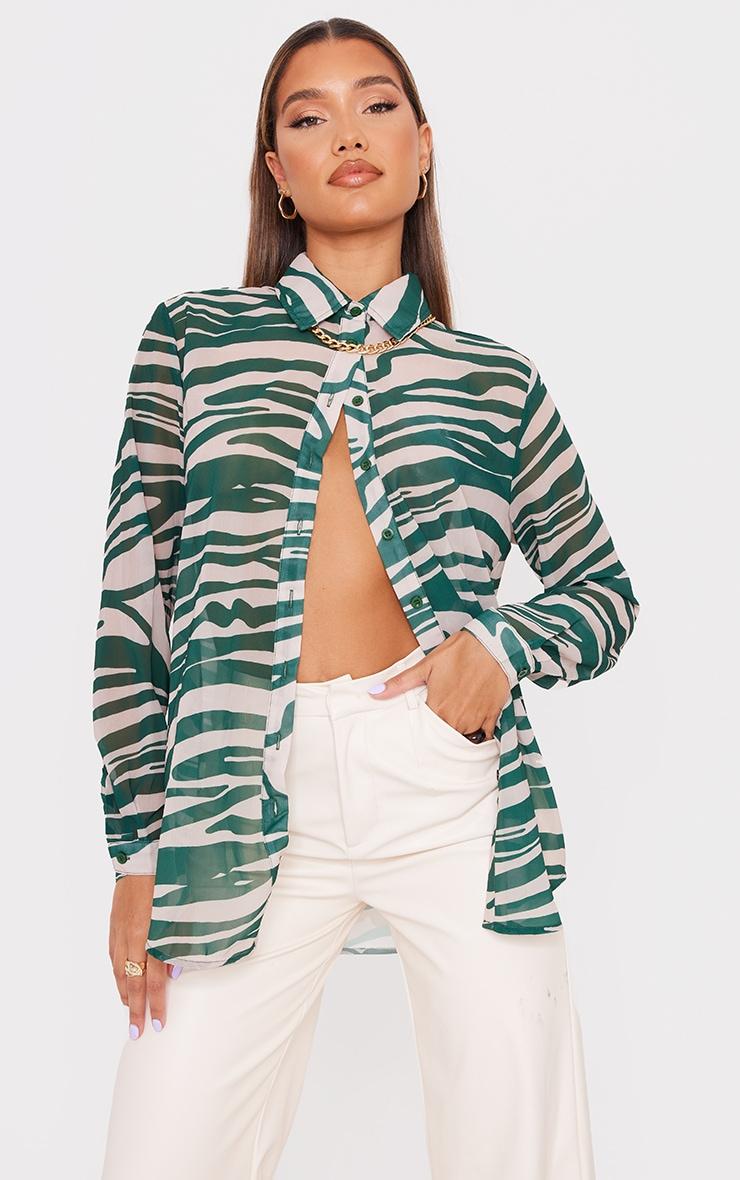 Khaki Zebra Print Chiffon Oversized Shirt 4