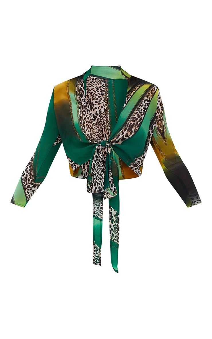 Green Mixed Animal Print Tie Front Blouse 3