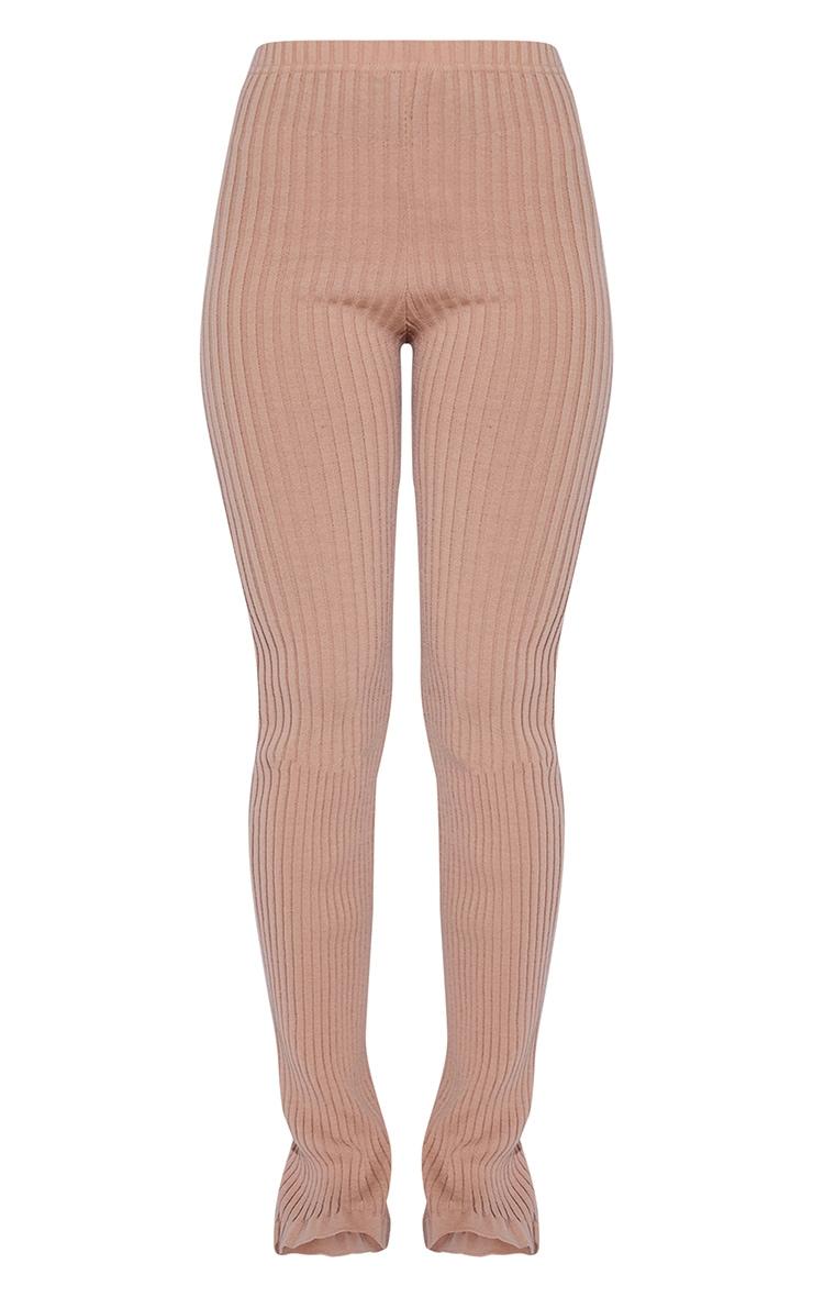 Oatmeal Ribbed Flare Hem Knitted Pants 5