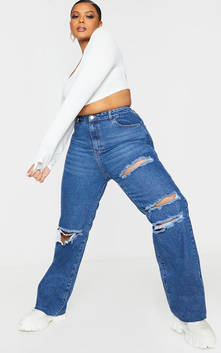 PRETTYLITTLETHING Plus - Jean droit déchiré bleu moyennement délavé coupe longue 1