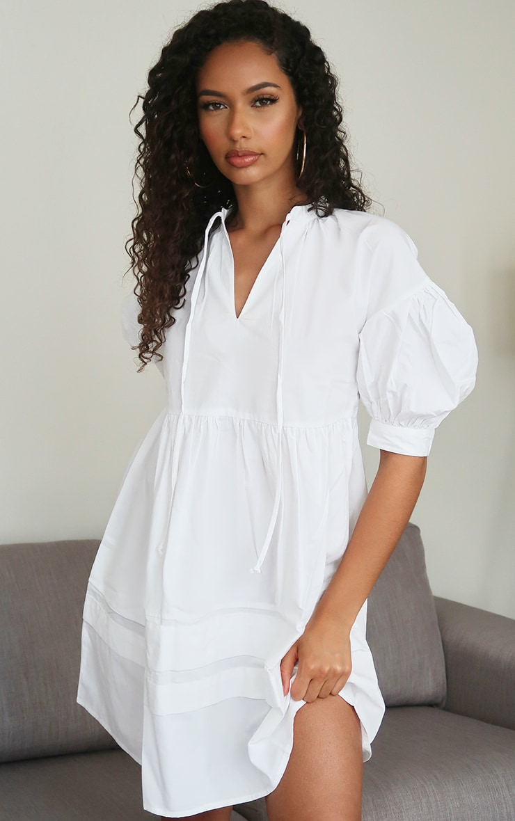 White Woven Tie Front Smock Dress 1